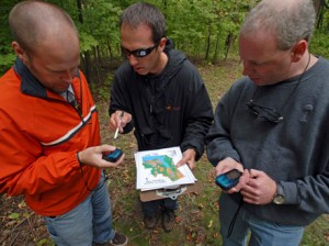 Group geocaching in forest