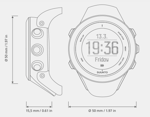 Suunto Ambit3 Sport GPS Watch with Heart Rate Monitor - dimensions