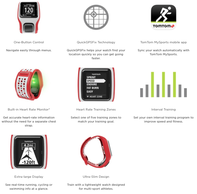 TomTom Multi-Sport Cardio Runners GPS watch - features