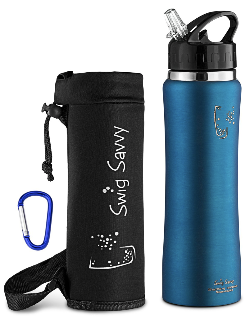 Swig Savvy's Stainless Steel Insulated Water Bottle, Wide Mouth 25 Oz Capacity, Double Wall Design, with Straw Cap -Including Water Bottle Pouch